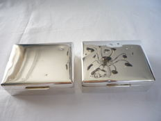 Two silver plated cigarette boxes, Birks sterling, Canada, Ca. 1940 Engraved: J 10-2 1942