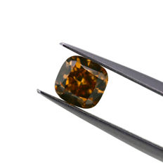 Natural Fancy Deep Yellowish Brown 1.30 ct. VS1 square Cushion shape Diamond, IGI Certfied