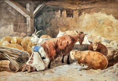 English school (late 19th century) - Campesina en el establo (peasant in the stable)