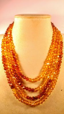 Faceted modified colour Baltic Amber Necklace, length 200 cm ( 2 meters)