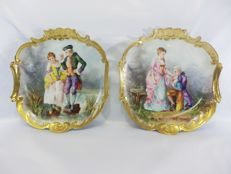 William Guerin, Limoges - A rare pair of hand painted large plates