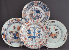 Polychrome plates with various decorations – China – 18th century