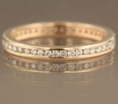 14 kt rose gold, full eternity ring set with 43 brilliant cut diamonds in channel setting, approx. 0.53 carat in total, ring size 17.25 (54)