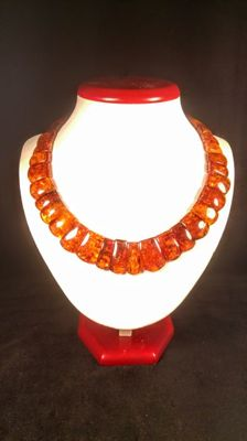 Flat beads modified Baltic amber necklace, length 45 cm, 48 grams