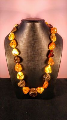 Italian style mixed colour Baltic Amber necklace, length 82 cm, 168 gr.
