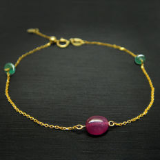 18K  bracelet with 0.9ct of rubies and 0.3ct of emeralds