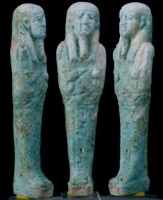 BBlue faience Shabti for Chons born to Nes-Hor - ca. 12,3 cm - c. 4,84 inches