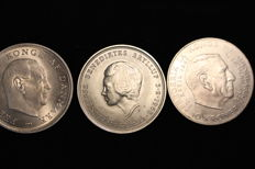 Denmark - 10 Kroner 1967, 1968 and 1972 (3 coins) - silver