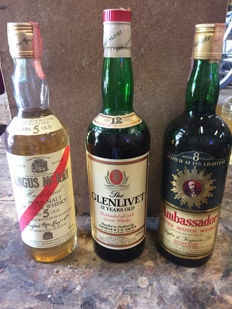 3 bottles - Angus Mckay 5 years old - Glenlivet 12 years old (old bottling) & Ambassador 8 years old