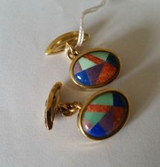 Cufflinks in 18 kt / 750 yellow gold with multi-coloured mosaics made from semi-precious stones and  10 blue sapphires (5 per cufflink).