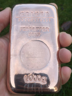 Geiger Copper Bar 1 kg - 1,000 Grams 999 Copper - Güldengossa Castle Cast Edition - With Serial Number