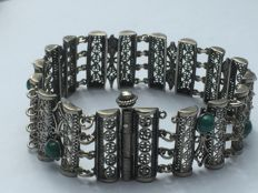 Filigree bracelet, probably from Israel - genuine tested silver and 8 genuine Eilat stones from around 1940