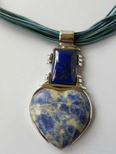Handmade necklace with very unique pendant with rare lapis lazuli - handmade by Carlos Martini, never worn.