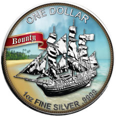 Cook Islands - 1 x 1 Cook Dollar Bounty Sailing Ship - exclusive colour edition 2017 - with certificate - 1 x 999 silver coin