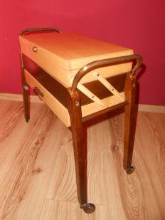 Vintage sewing box, sewing table, rolls with contents