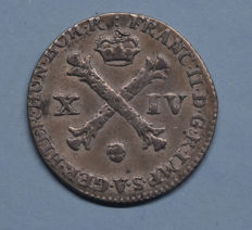 Austrian Netherlands - 14 liards (14 places) 1793, Frans II - silver.