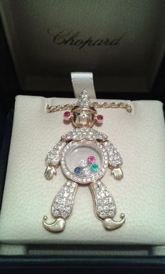 Chopard – 'Clown' pendant – 18 kt gold with precious stones – 4.5 cm.
