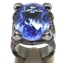 Diamond, Sapphire, Ruby & Topaz Ring total: 37,66ct. - Ring size BE 54 NL 17,25mm