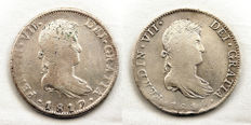 Spain - King Fernando VII - Lot of 8 reales silver coins - Years: 1815 and 1817 - Mexico.