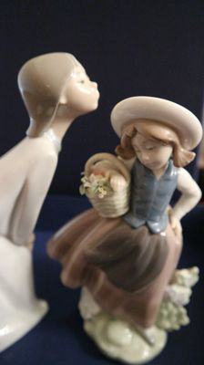 "Lladro Porcelain Figurine #5221 ""Sweet Scent"" AND Lladro/Nao Figurine ""Girl Kissing"" #4873 Glossy Finish"