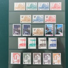 Belgium 1967/1985 - Selection of railway stamps including Station Arlon white paper and Delvaux stamps - OBP TR400/465