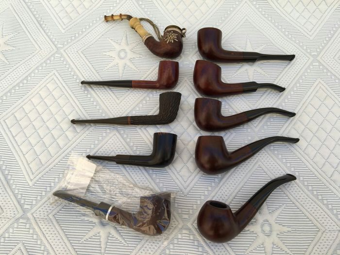 Lot of 10 vintage new pipes, 20th century. For collectors Bruyere, Rustic, ARB England, Jockey Club.