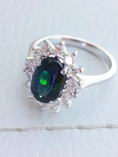 Ring in 18 kt gold with 0.50 ct diamonds and tourmaline – Measurements: diameter: 16, circumference: 53, size: 6 (USA), nr 13