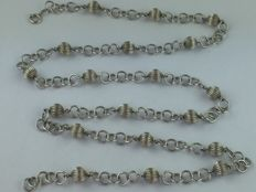 2678 antique necklace with beads, real 835 silver around 1940