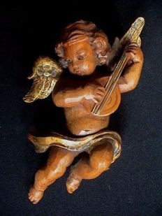 Beautiful polychrome wooden sculpture/figurine of a putto/angel - Belgium - approx. 1920