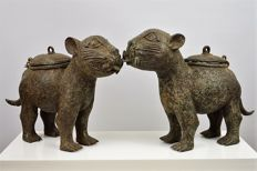 Large Pair Bronze Leopards - Benin