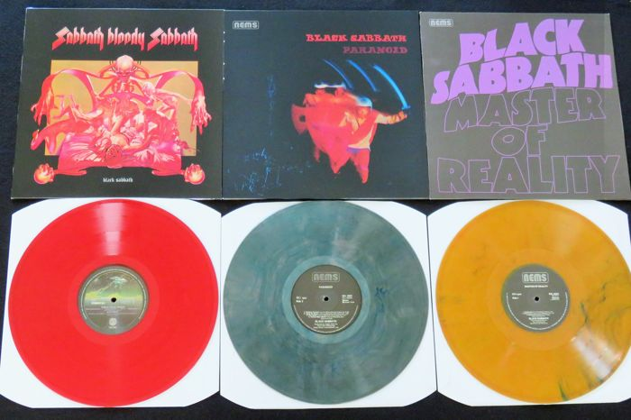Black Sabbath - Sabbath Bloody Sabbath / Paranoid / Master Of Reality: Great lot of 3 LP's, all on coloured vinyl!