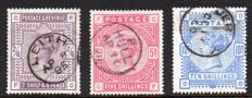 Great Britain, Queen Victoria - 2/6d Lilac, 5/- Rose and 10/- Ultramarine - Stanley Gibbons 178, 180 and 183