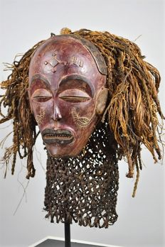 Mwana Pwo / Pwevo Mask and Stand - Chokwe