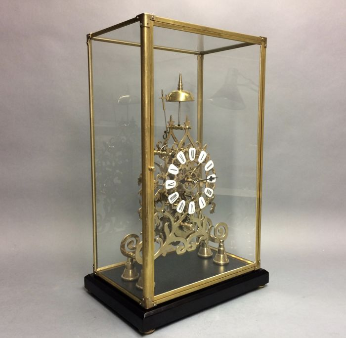 Skeleton clock with percussion - compulsion - Brass - Second half 20th century