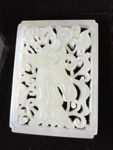 Unusual Jade- carved pendant depicting a Chinese beauty
