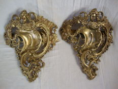 A Pair of Gilt Bronze Sconces, marked and numbered - France - ca. 1890