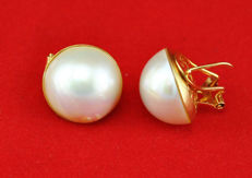 18 kt yellow gold – Omega clasp earrings – Mabe pearls of 13.50 mm