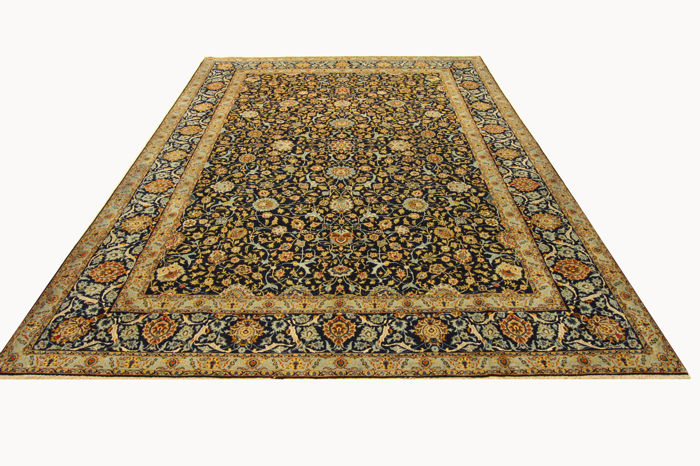 Fine Persian carpet, Kashan 3.94 x 3.00 blue gold, handwoven, high quality new wool, Oriental carpet TOP CONDITION no. 106