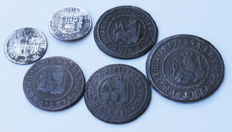 Spain - Excellent lot of 6 coins: 4 maravedis, 2 half reales in silver - XVIII.