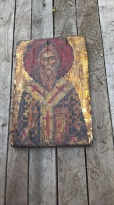 Russian icon - St. Nicolaas - on wooden panel.