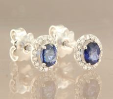 14 kt white gold rosette stud earrings with sapphire and 28 diamonds, approx. 0.20 carat in total – Size 8.0 mm x 6.8 mm
