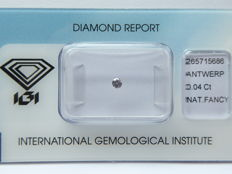 Natural Fancy Pink diamond 0.04 ct with I.G.I certificate ***No minimum price***