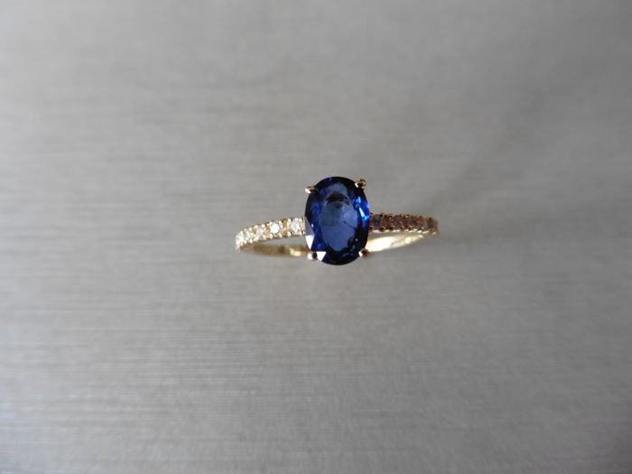 14k Gold Sapphire and Diamond Ring - size 51