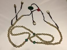 Unusual old pearl necklace with multiple stones