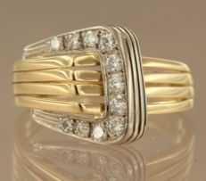 18 kt bi-colour gold ring, set with 11 brilliant cut diamonds, approx. 0.35 carat in total, ring size 19 (60)