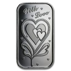 USA - 1 oz 999 fine silver bar - With All My Love - reverse has space for engraving