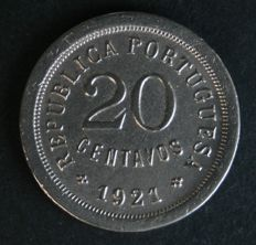 "Portugal - 20 Centavos ""SMALLEST UNIT"" - 1921 - Portuguese Republic - Lisbon - A RARITY - ONE OF THE 5 RAREST COINS FROM THE PORTUGUESE REPUBLIC"