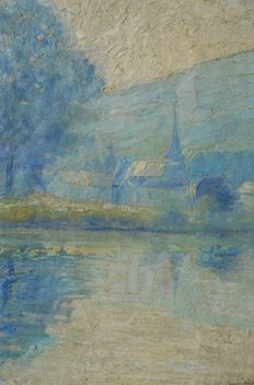 Attributed to Louise Salpetier (20th century) - village view on waterfront