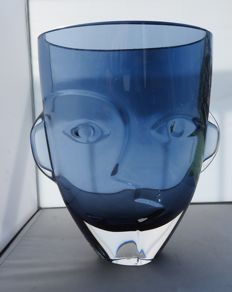 "Rytkönen for Orrefors - ""Ramses"", crystal glass face sculpture/vase, signed (28 m, approx. 6 kg)"