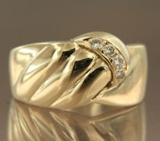 14 kt yellow gold ring set with 4 brilliant cut diamonds in total approx. 0.10 carat ring size 17.25 (54)